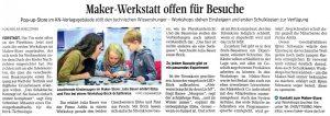 Zeitungsartikel Kiel Maker Store